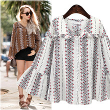 Fashion Women's Cotton Linen Blends Thin Floral Full Flare Sleeve V Neck Loose Casual Shirt