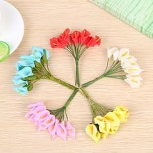 144 шт./лот мини-pe каллы, лилии искусственные цветы Букет Многоцветный Скрапбукинг цветок тычинки и листья свадебное украшение коробка