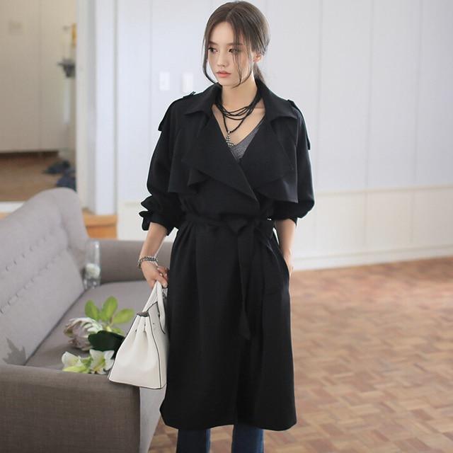 Свободные длинные траншеи пальто женщин 2016 весна/осень рукав реглан мода плюс размер черный над пальто женщин грейс плащах для подарка