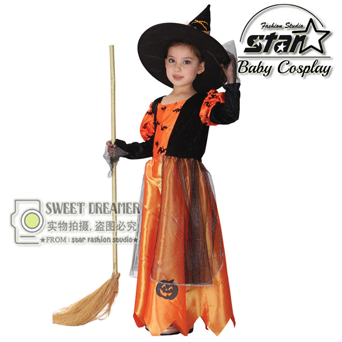 цены Children Kids Baby Girls Halloween Carnival Party Pumpkin Maxi Dress with Hat Witch Costumes Child Cosplay Clothing