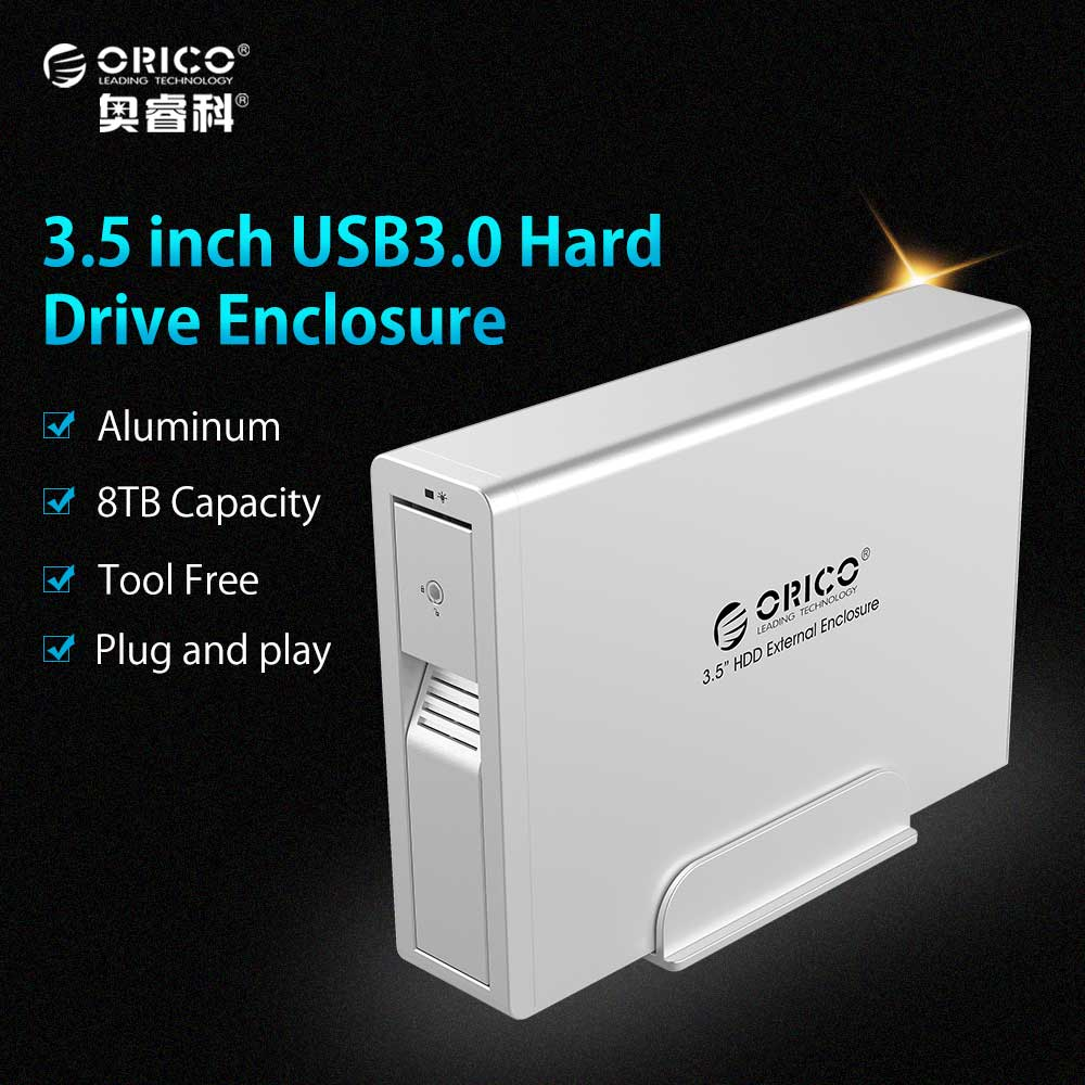 ORICO 7618US3 3.5 HDD External Enclosure 3.5 SATA Support Tool Free/Hot-swap/Intelligent sleep-Black(Not including HDD) best price mgehr1212 2 slot cutter external grooving tool holder turning tool no insert hot sale brand new