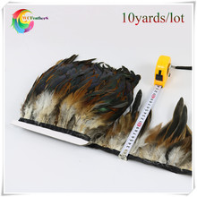 wholesale 10 yards long natural color high quality natural rooster feather trims fringe with Satin Ribbon Tape for skirt costume