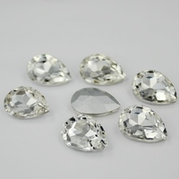 72pcs/pack 18*25mm White Pointback Pear Drop Clear Crystal Fancy Stone Teardrop / Droplet Glass For Jewelry Phone DIY Accessory