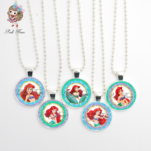 The Little Mermaid Figure Pendant Necklace Handmade Girl Jewelry Glass Cabochon Party Favors Birthday Gift Set Of 5