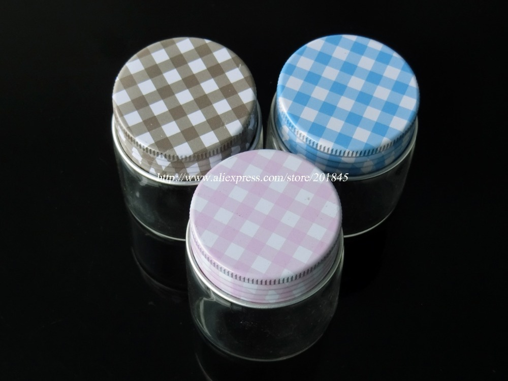 48Pcs Glass Jars Silicone Stopper Metal Cap Empty Bottles Glass Transparent Loose Powder Bottles Containers 50ml