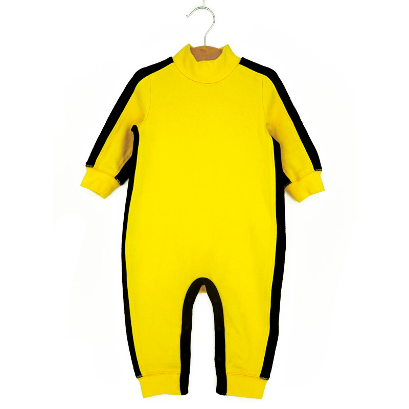 купить Kongfu style baby boy rompers 2018 baby Bruce Lee costumes newborn long sleeve boy jumpsuit toddler baby clothing boys Wear cute по цене 672.5 рублей
