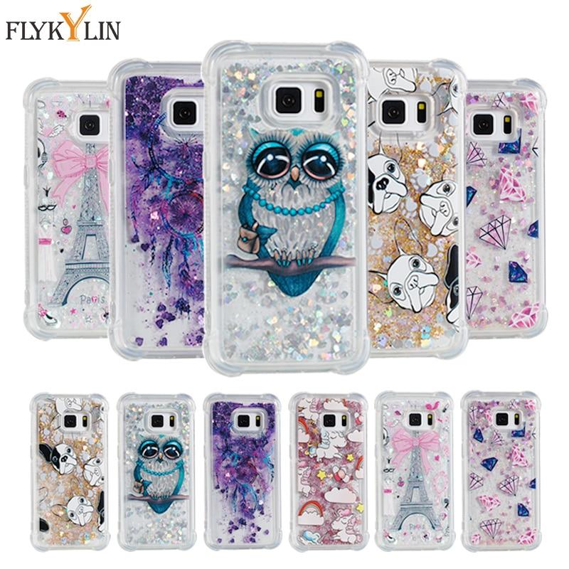 FLYKYLIN Soft Liquid case For Samsung Glaxy S7 S7 edge Cute Owl Pattern Glitter Liquid Cases For S8 S8 Plus S9 S9 Plus Cover