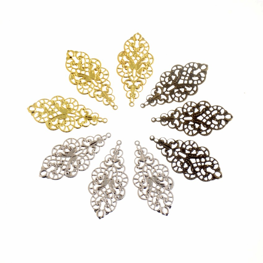 Free Shipping 20Pcs Antique Bronze/ Gold/Silver Color Leaf Filigree Wraps Connectors Metal Crafts Gift Decoration DIY 43x20mm
