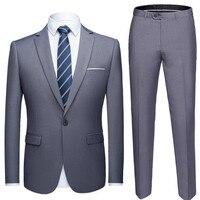 Hot New solid color suit 2 piece set men's dress business casual jacket dress men's wedding dress