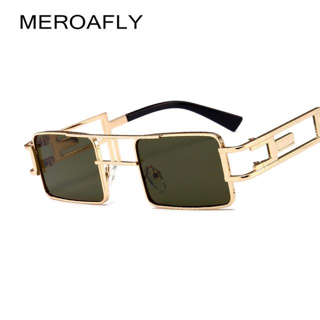 a9e86510a7d MEROAFLY Mens Rectangular Sunglasses Steampunk Men Metal Frame Gold Black  Red Flat Top Square Sun glasses