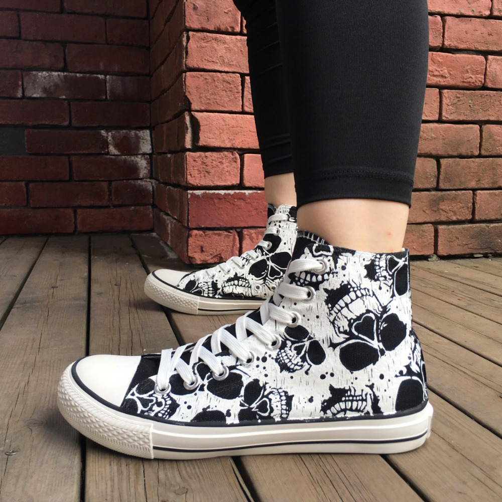 0f53a3cf9a6a Wen Custom Abstract Painting Death Skull Design Hand Painted Black Sneakers  High Top Adults Canvas Skateboard Shoes Unisex