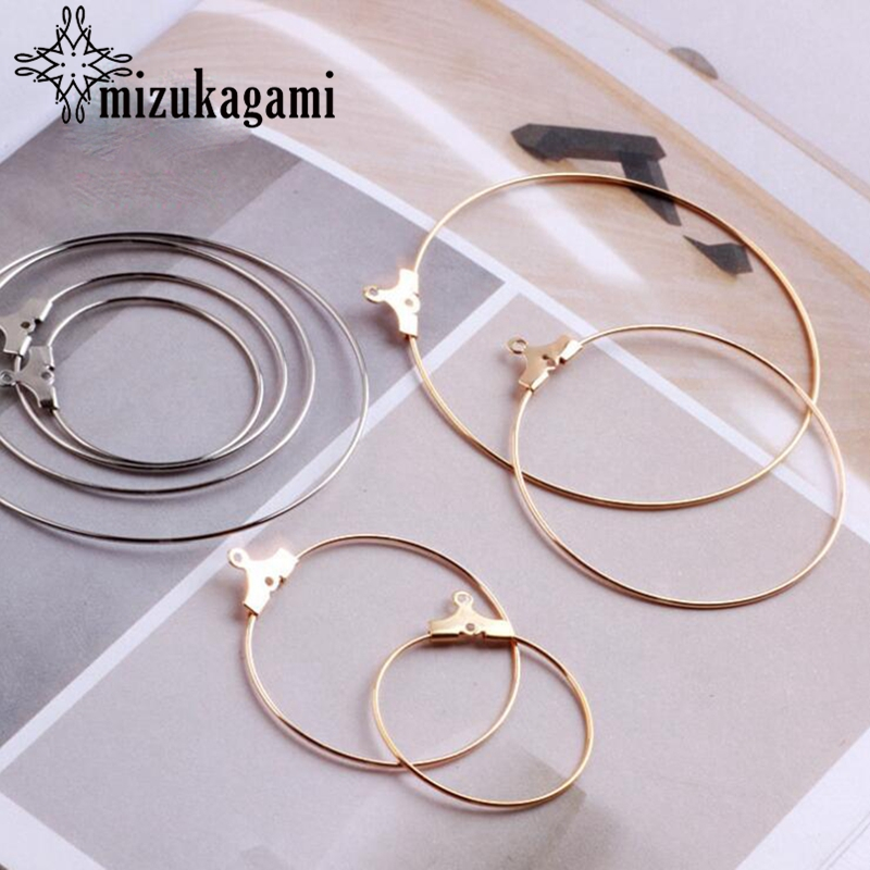Golden Metal Copper Big Round Circle Shapes Charms 10pcs/lot For DIY Fashion Drop Earrings Jewelry Production Matching