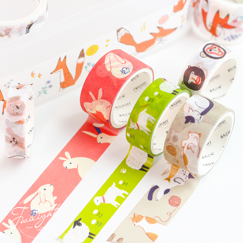 8 Pcs Cartoon World Fruit Vegetable Paper Washi Tape Set Cute Animal Decoration Color Masking Tapes Sticker Scrapbooking FJ359