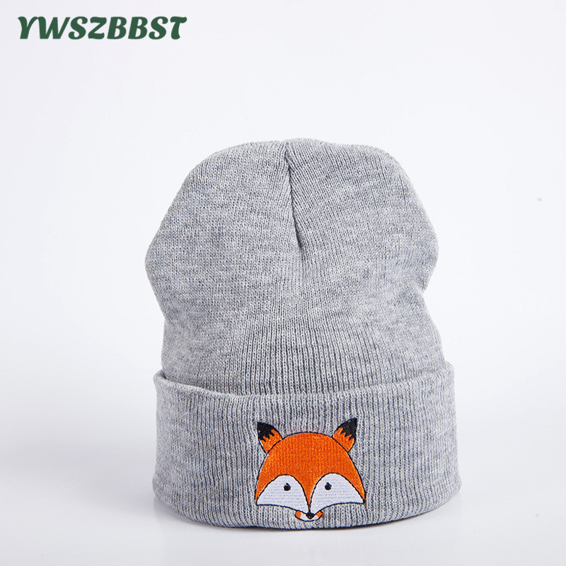 New Autumn Winter Outdoor Crochet Women   Skullies   Hat Fox Embroidery Print Head Cap Lady Knitted Warm Cap Women   Beanies   Cap