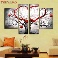 Hand Painted Gray Love Heart Spring Tree Oil Painting On Canvas 4 Piece Modern Artwork Set