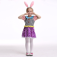 Halloween Party Kids Gift Fancy Costume Cosplay Girls Tutu Dress Ear Headband Girls Polka Dot Dress