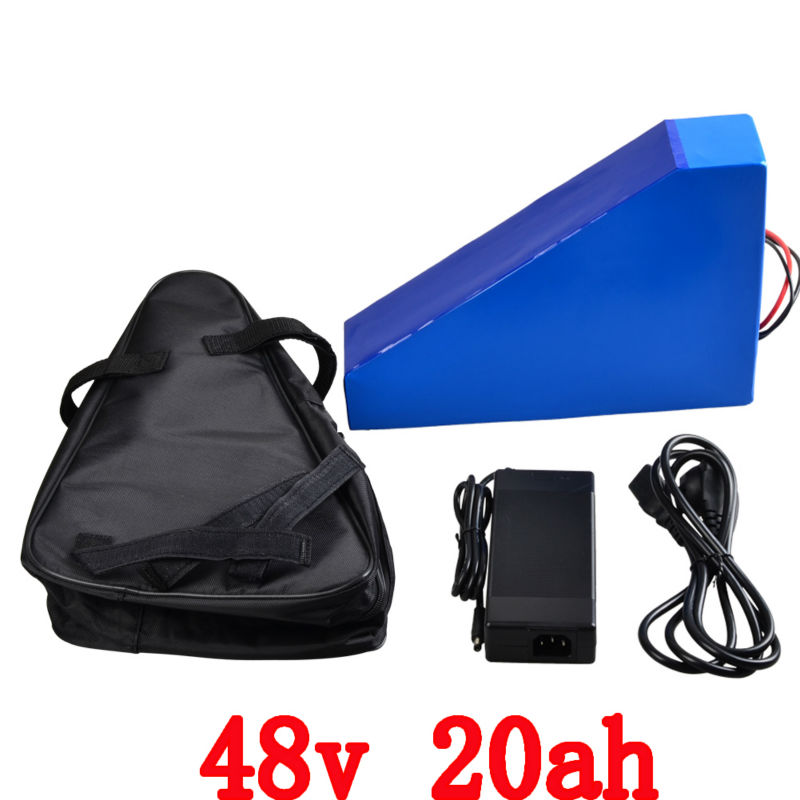 EU US no tax 48V 20AH Triangle battery 1000W 48V Electric Bike battery 48V 20AH Lithium battery with bag 54.6V 2A charger