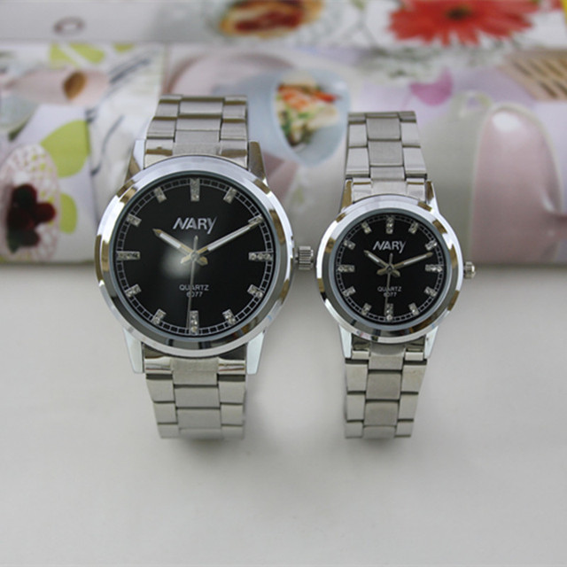 Sainless Aço Nary Marca de Prata Das Mulheres Dos Homens relógio de Pulso À Prova D' Água Relógio de Quartzo Casais Relógios Relogio Feminino Reloj