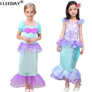 2018 meninas vestidos de sereia pequena sereia fantasia princesa ariel cosplay halloween/natal traje crianças roupas da criança