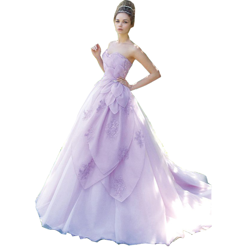 lavender a line sweetheart purple wedding dress 2016 with flowers bridal gowns petals robe de mariage