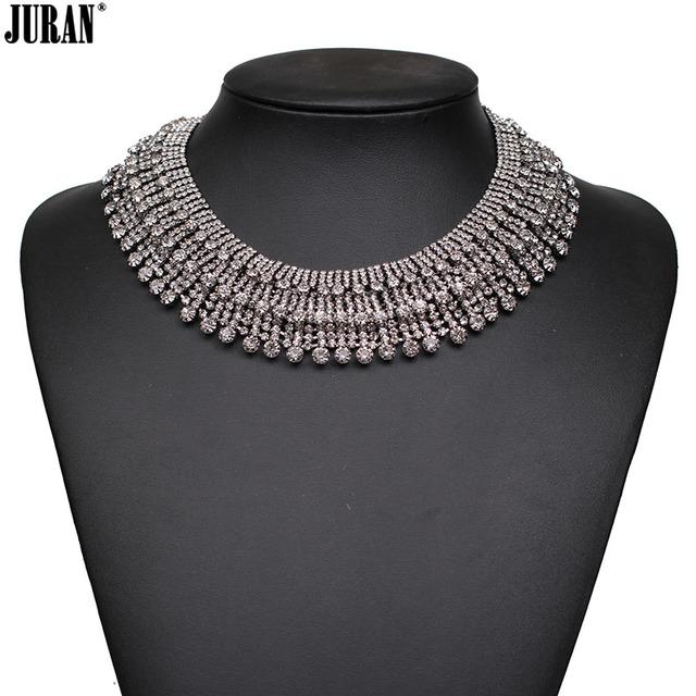 Nueva moda 2017 de alta calidad choker collar chunky collares babero de lujo antiguo clásico torques declaración de cristal para las mujeres