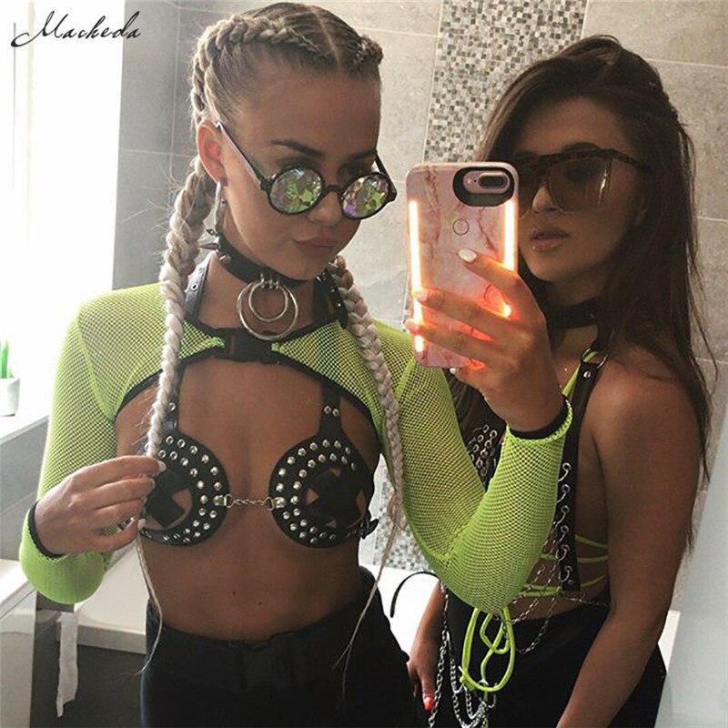 Macheda Fashion Womens   Tops   Summer Vest Perspective   Tank     Tops   Halter Vest Smock Ladies Sexy Bustier Mesh Casual Crop   Top   New