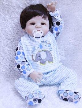 "DollMai 23"" boy body whole silicone dolls reborn fake baby male dolls for children gift toys Bebe dolls menino de silicone"