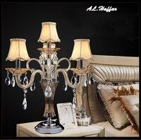 Роскошные Современные k9 кристаллы настольная лампа Гостиная люстры де cristal светильник украшения отель спальня рядом лампы с абажуры