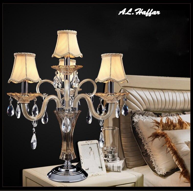 Lujo moderno K9 cristales lámpara de mesa salón lustres de cristal decoración lámpara Hotel dormitorio al lado de lámparas con pantallas