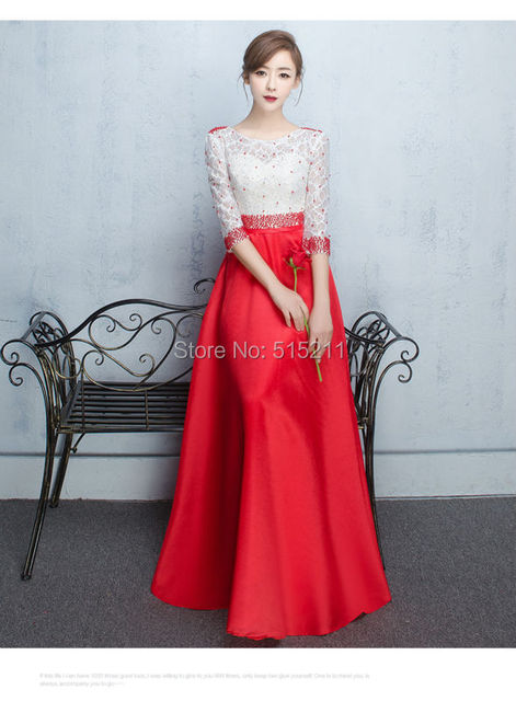 Half Sleeves Evening Dress 2017 Beads A line Red   White Long Formal Gowns  Sheer Lace Back Evening Dresses Long vestido fiesta 65494ffde