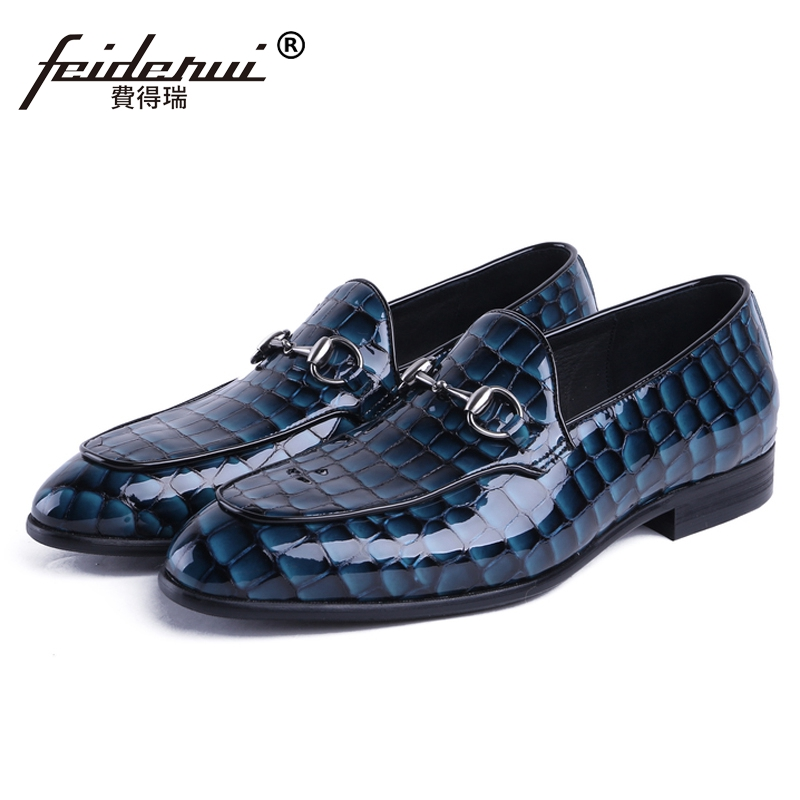 Luxury Handmade Round Toe Man Casual Shoes Patent Leather Slip on Loafers Formal Designer Men's Moccasin Comfortable Flats JS57 hot high quality men loafers leather round toe slip on casual shoes man flats driving shoes hombre zapatos comfortable moccasins