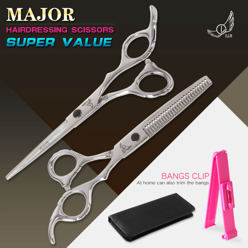 6 tommer skæring tyndere Styling værktøj hår saks rustfrit stål salon frisørsaks almindelige flade tænder
