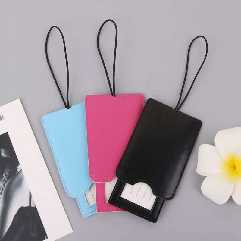 Creative Leather Luggage Tags Labels Strap Name Address ID Suitcase Bag Baggage Travel