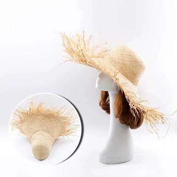 NEW Handmade Women Straw Sun Hats Large Wide Brim Gilrs High Quality Natural Raffia Panama Beach Straw Sun Caps For Holiday 5