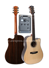 Professional Cutaway 41″ Electric Acoustic Guitars,Solid Spruce Top/Rosewood Body guitarra eletrica With LCD Pickup +Hard case