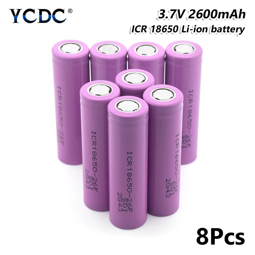 8x high capacity icr 18650-26f battery 2600mah 3.7v rechargeable li-ion cell for Laser Pen LED Flash light Cell battery holder 471 540 irregular cell battery