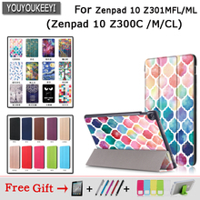 Fashion pu Case For ASUS Zenpad 10 Z301MFL Z301ML Print Magnetis Stand Tablet Cover 10.1 Z300C Z300M Z300CL