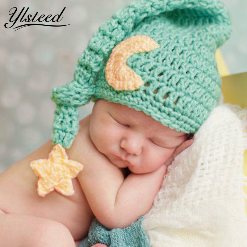 Cute Newborn Photography Props Baby Knit Long Tail Hats Crochet Warm Star  Moon Cap Photoshoot Picture 482ae3adabca
