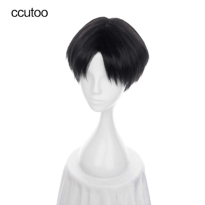 ccutoo 30cm Black Short Straight Parting Hairstyled Synthetic Wig For Halloween Party Cosplay Wig Costume Hair