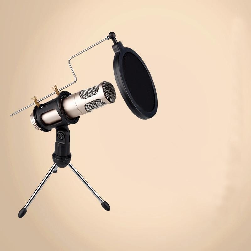 2 in 1 Mini Mikrofon Desktop-Stativ Aufnahmemikrofon Halter mit Mic Clip Windschutzscheibe Filter Pop Filter für Gesang