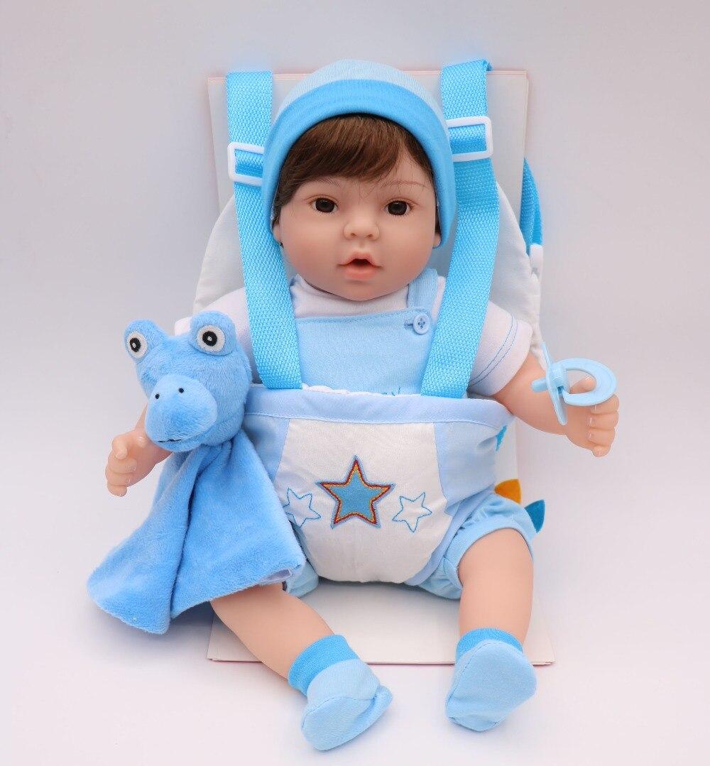 40 cm Silicone Reborn bébé poupée jouet vinyle bebe vivant jumeaux bleu/rose porte-bébé élingue bonecas jouet réaliste enfant cadeau d'anniversaire - 4