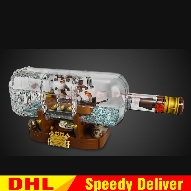 In Stock Lepin 16051 Creative Ideas Pirates of Caribbean Ship in a Bottle Building Block Bricks Kids Toys Clone Legoing 21313