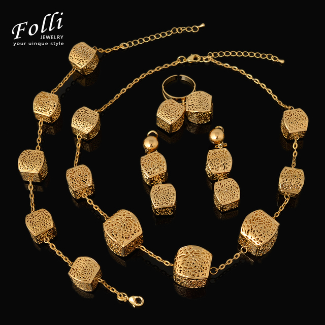 2016 Fashion Dubai Gold Plated Jewelry Sets Trendy Nigerian Wedding African Beads Jewelry Sets Elegant  Necklace Costume Bijoux