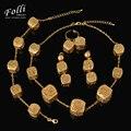 2016 Moda Dubai Banhado A Ouro Conjuntos de Jóias Na Moda Do Casamento Nigeriano Beads Africanos conjunto de Jóias Elegante Colar Costume Bijoux