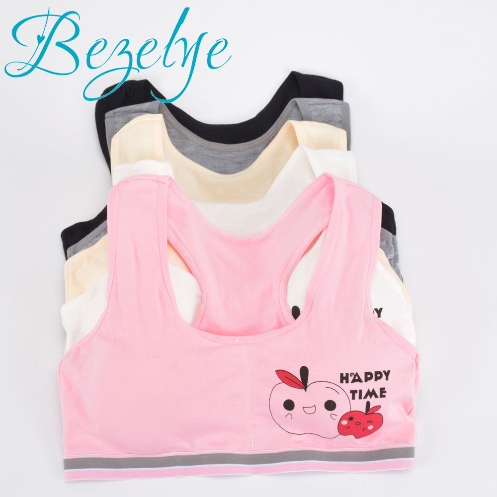 2019 Young Girls Bra Cotton Puberty Girl Underwear Wirefree Bra For Teens Vest Fashion Young Girls Bra