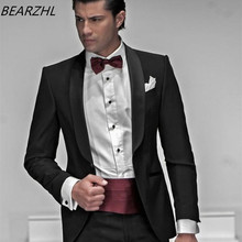 bespoke mens suits for wedding tuxedo for groom wear black suit slim fit high quality summer dress