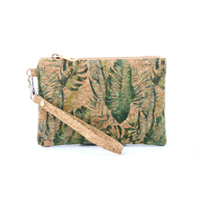 Portugal Natural Cork Zipper Coin Purse Tropical leaf  Bags For Women 2019