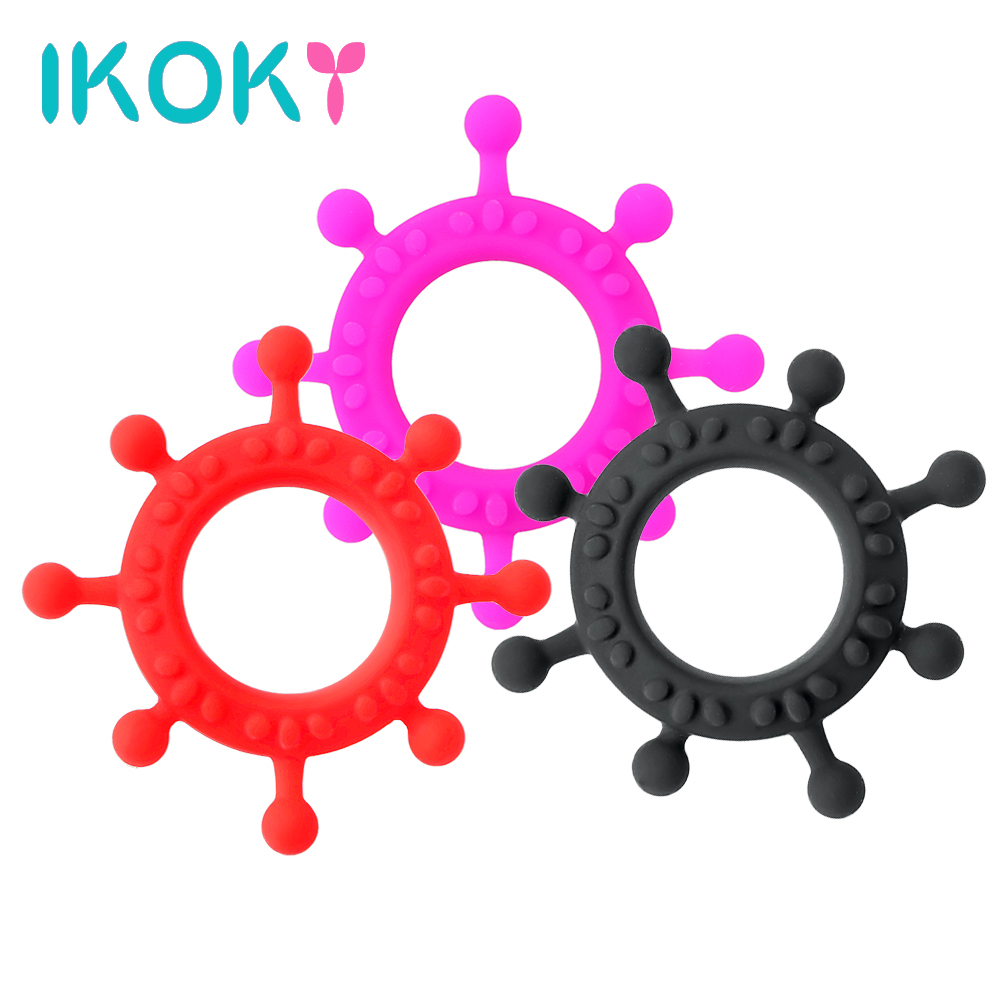 IKOKY Sex Toys for Men Silicone Penis Ring Locking Cock Ring Adult Products Masturbation Gear Steering Wheel Sex Products