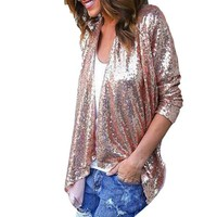 Women Long Sleeve Solid Sequined Irregular Cardigan Tops Cover Up Veste Femme Manche Longue