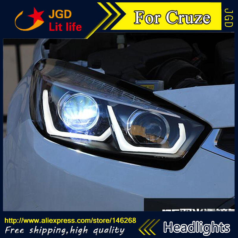 Free shipping ! Car styling LED HID Rio LED headlights Head Lamp case for Cruze 2015 Bi-Xenon Lens low beam